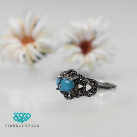 انگشتر نقره فیروزه نیشابوری زنانه Rm_0104