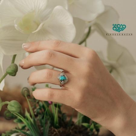 انگشتر نقره فیروزه نیشابوری زنانه RS_0110